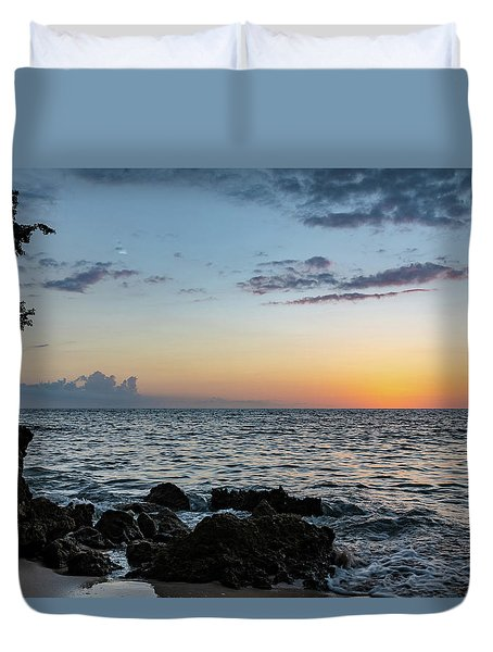 Sunset Afterglow In Negril Jamaica Duvet Cover