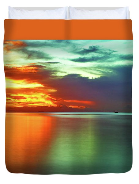 Sunset And Boat Duvet Cover