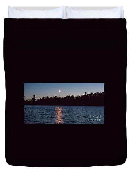 Sunset And Moonrise Duvet Cover