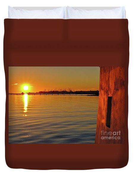 Sunset And Old Watermill Duvet Cover
