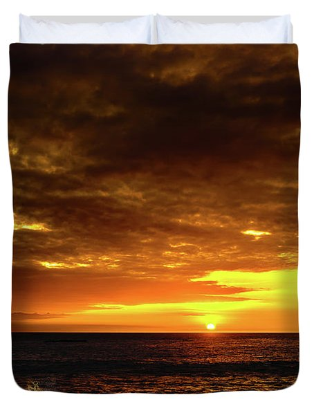 Sunset And Surf Duvet Cover