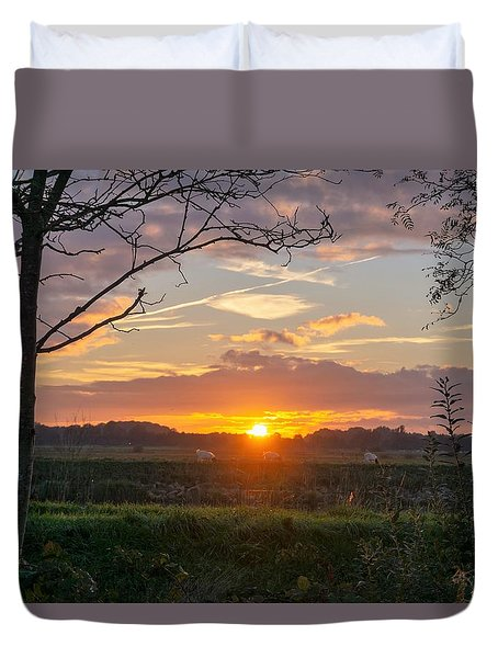 Duvet Cover featuring the photograph Sunset by Anjo Ten Kate