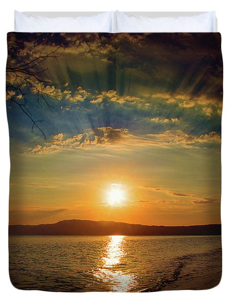 Duvet Cover featuring the photograph Sunset Artistry by Milena Ilieva