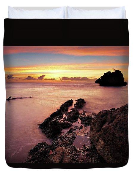 Sunset At Columbus Bay Duvet Cover