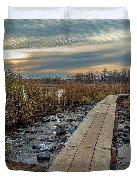 Sunset At Purgatory Creek Duvet Cover