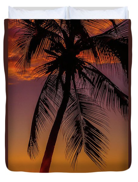 Sunset At The Palm Duvet Cover
