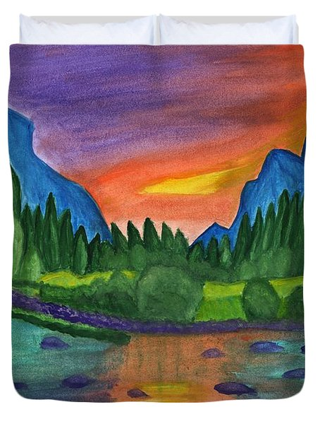 Sunset By The River Duvet Cover