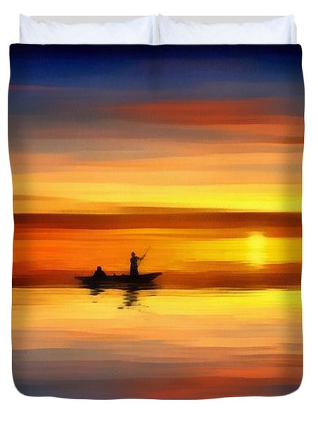 Duvet Cover featuring the painting Sunset Fishing by Harry Warrick