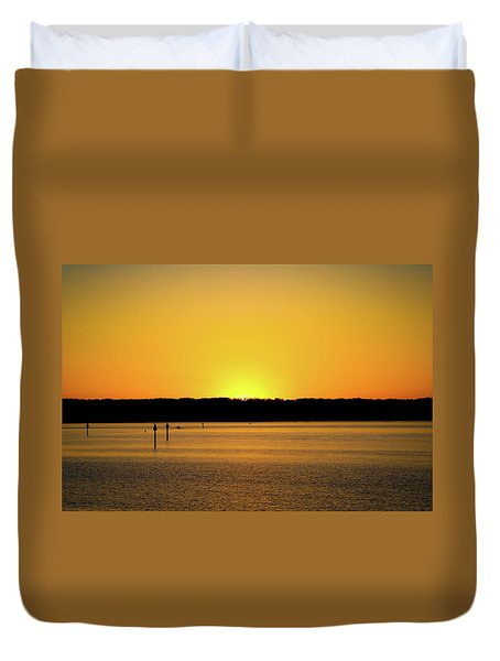 Duvet Cover featuring the photograph Sunset From National Harbor by Lora J Wilson