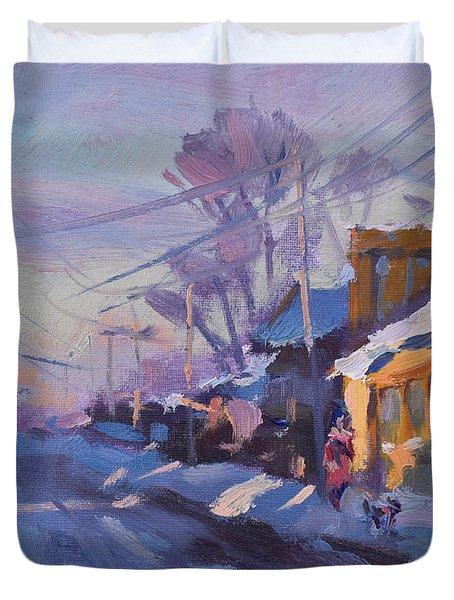 Sunset In A Snowy Street Duvet Cover