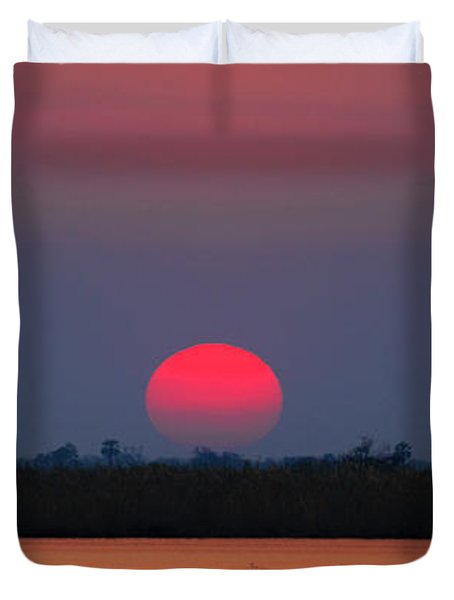 Sunset In Botswana Duvet Cover