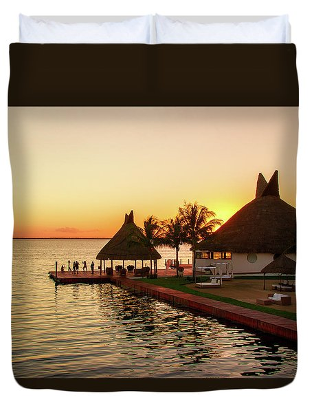 Sunset In Cancun Duvet Cover