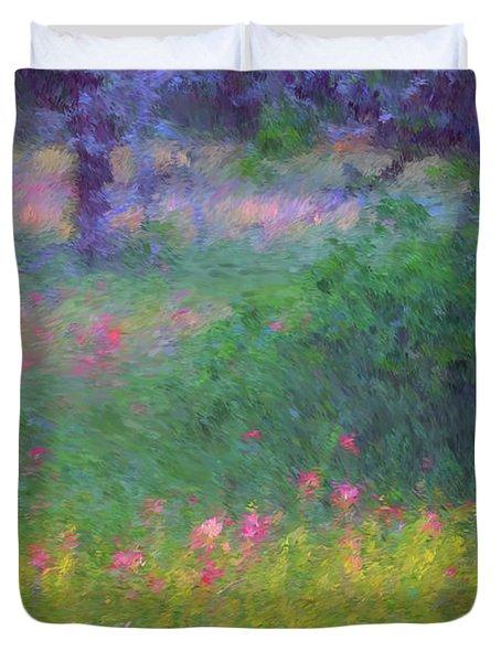 Sunset In Flower Meadow Duvet Cover