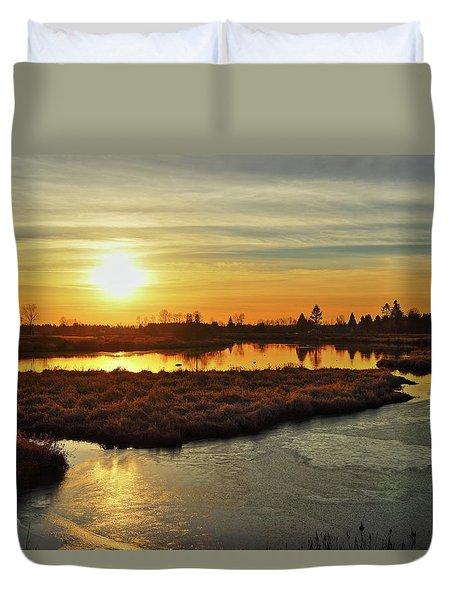 Sunset In Pitt Meadows Duvet Cover