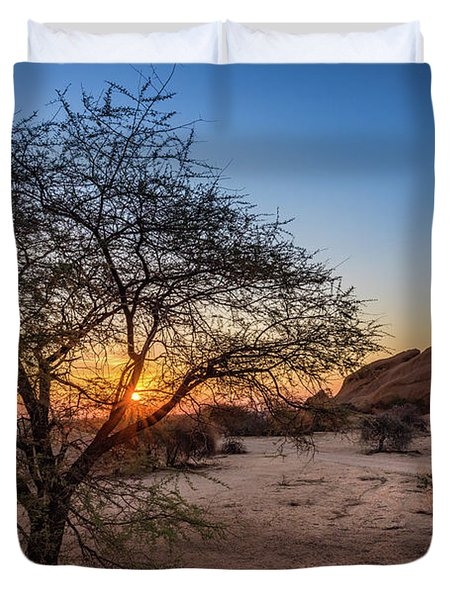 Sunset In Spitzkoppe, Namibia Duvet Cover
