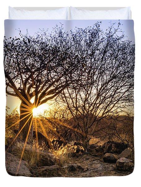 Sunset In The Erongo Bush Duvet Cover