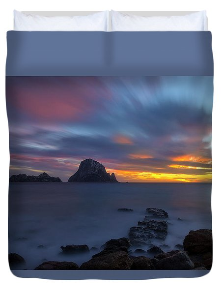 Sunset In The Mediterranean Sea With The Island Of Es Vedra Duvet Cover