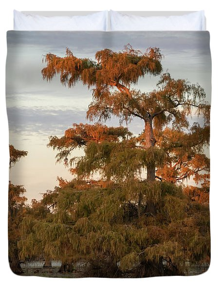 Sunset In The Swamps Of Caddo Lake, Texas Duvet Cover