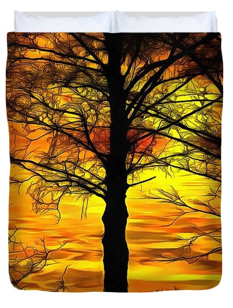 Duvet Cover featuring the painting Sunset Lake by Harry Warrick
