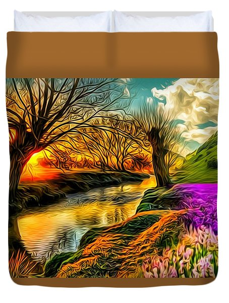 Sunset Landscape Duvet Cover