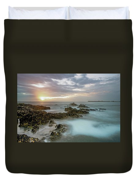 Duvet Cover featuring the photograph Sunset Matosinhos by Bruno Rosa