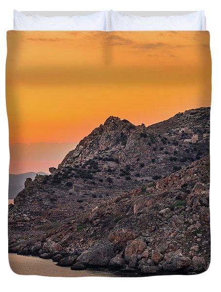 Sunset Near Cape Tainaron Duvet Cover