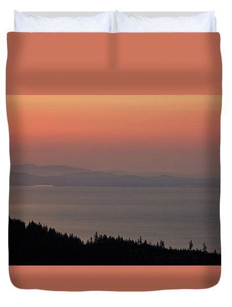 Sunset Of The Olympic Mountains Duvet Cover