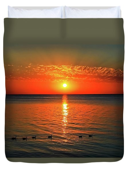 Duvet Cover featuring the photograph Sunset On Green Bay by Dawn Richards
