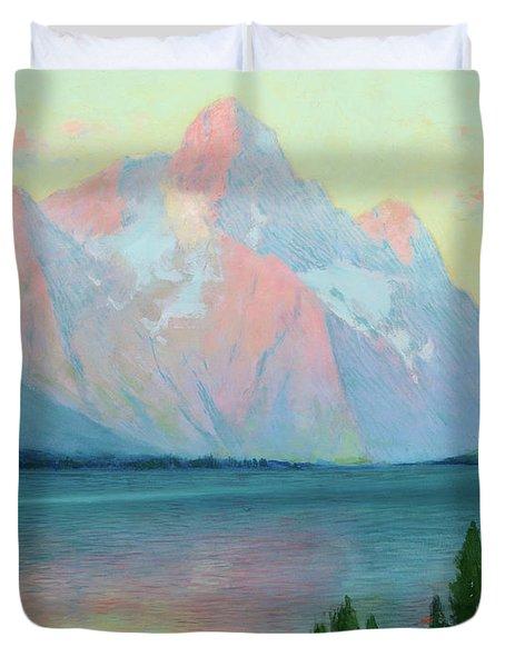 Sunset On Mt. Moran From Jackson Duvet Cover