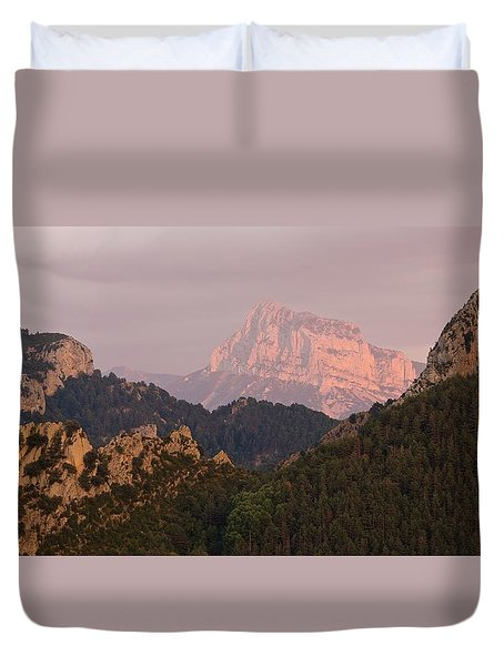 Duvet Cover featuring the photograph Sunset On Pena Montanesa by Stephen Taylor