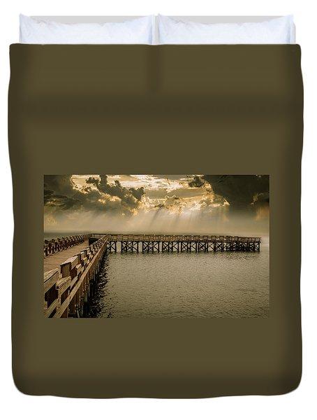 Sunset On Pier Duvet Cover