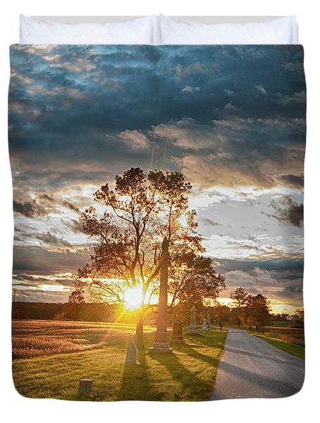 Sunset On The Field Duvet Cover