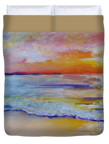 Duvet Cover featuring the painting Sunset On The Gulf by Saundra Johnson