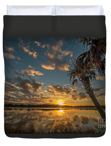 Duvet Cover featuring the photograph Sunset On The Pond by Tom Claud