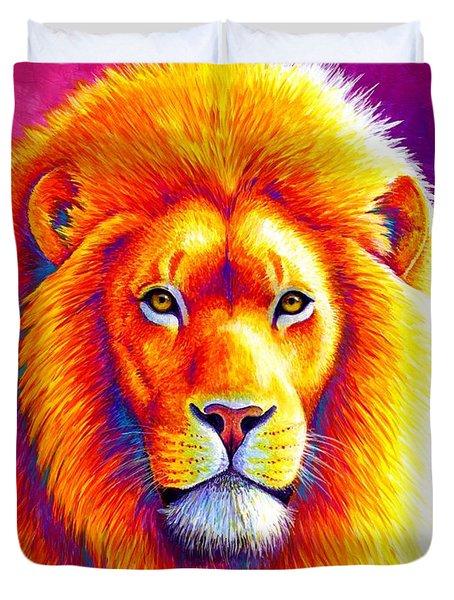 Sunset On The Savanna - African Lion Duvet Cover