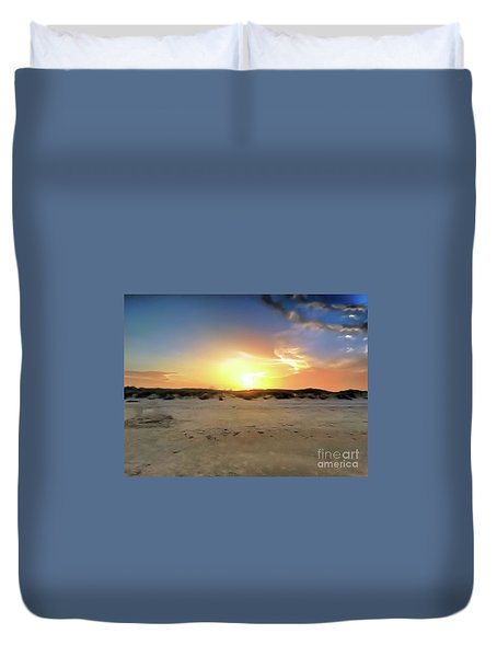 Sunset Over N Padre Island Beach Duvet Cover