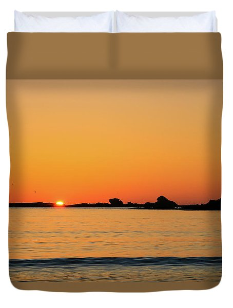Duvet Cover featuring the photograph Sunset Over Sunset Bay, Oregon 4 by Dawn Richards
