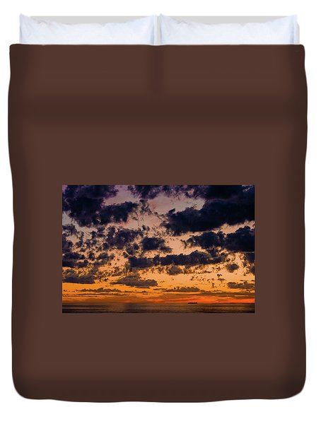 Sunset Over The Indian Ocean Duvet Cover