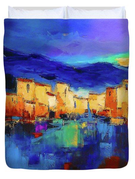 Sunset Over The Village Duvet Cover