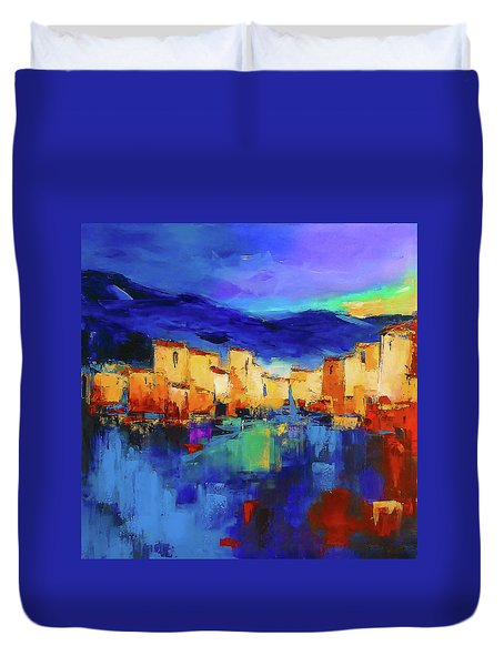 Sunset Over The Village Duvet Cover