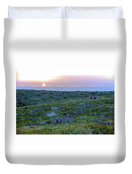 Sunset Over Um A-shekef, Israel Duvet Cover
