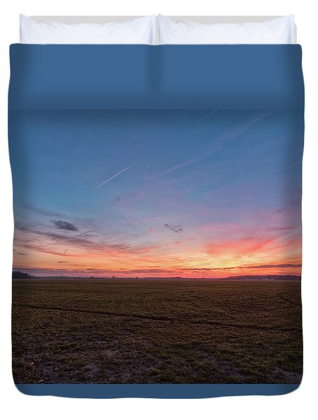 Duvet Cover featuring the photograph Sunset Pastures by Russell Pugh
