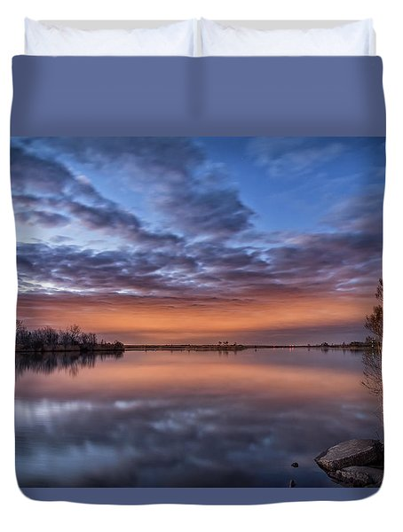 Duvet Cover featuring the photograph Sunset Reflection by Russell Pugh