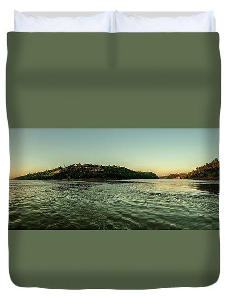 Sunset River Confluence Duvet Cover