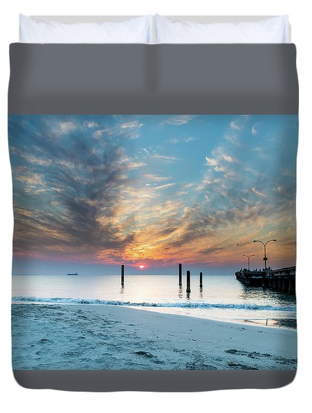 Sunset Seascape And Beautiful Clouds Duvet Cover