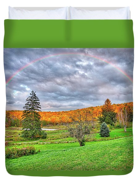 Duvet Cover featuring the photograph Sunset Storm Rainbow - Upstate New York by Lynn Bauer