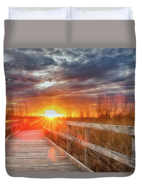 Duvet Cover featuring the photograph Sunset Walk by Russell Pugh