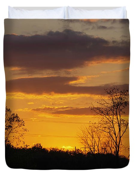 Sunset With Electricity Pylon Duvet Cover