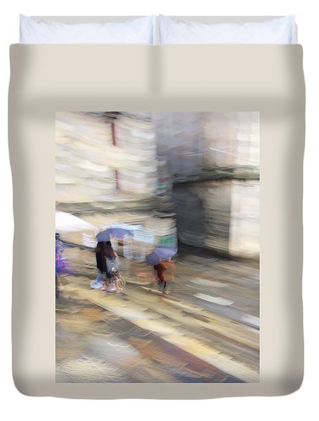 Duvet Cover featuring the photograph Sunshower On The Stairs by Alex Lapidus