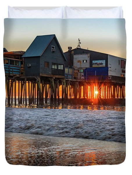 Sunstar At Pier Patio Old Orchard Beach Duvet Cover
